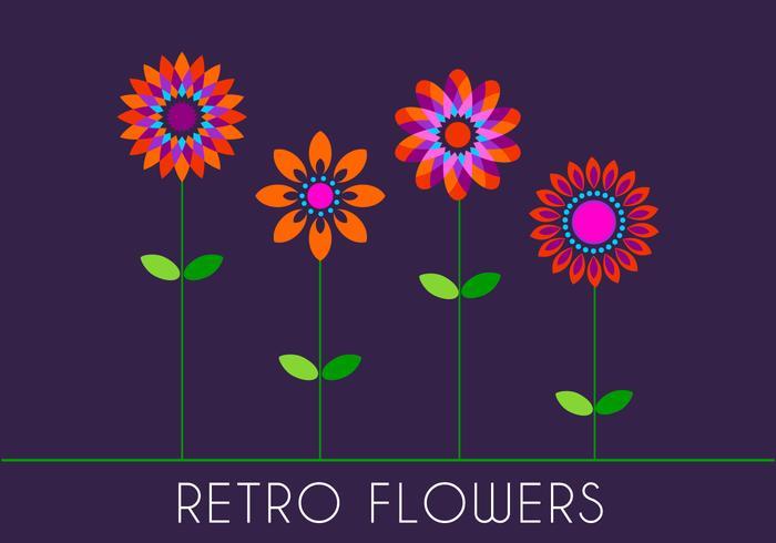 Retro 70-tal Blommor vektor