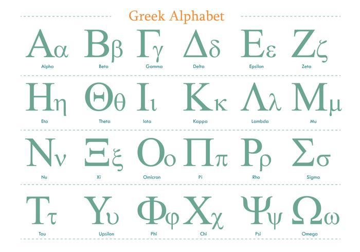 Grön grekisk alfabetvektorpaket vektor