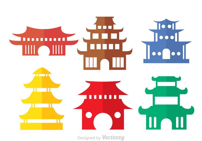 Bunte chinesische Tempel Vektoren