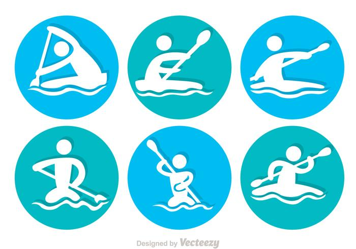 Fluss Rafting Kreis Symbole vektor
