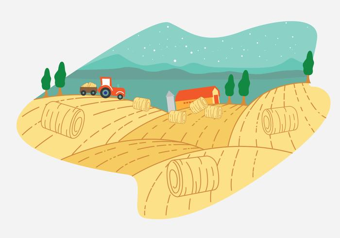 Hay Bale Farm Vektor Szene