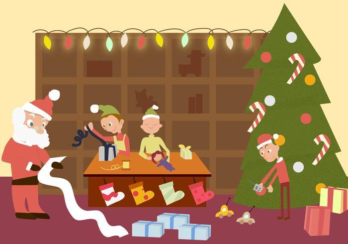 Santas Workshop Gratis Vector