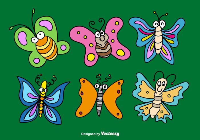 Tecknade fjärilar vektorer