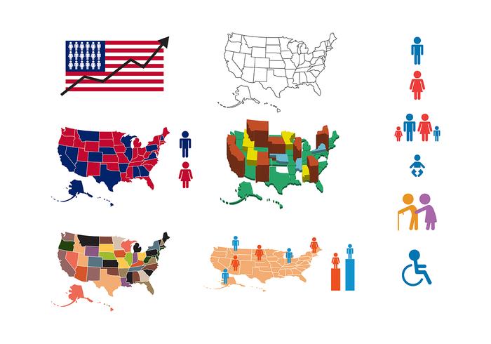 Fri amerikanska befolkningsvektor vektor