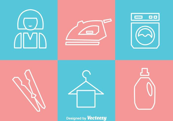 Wäsche Weiß Umriss Icons vektor
