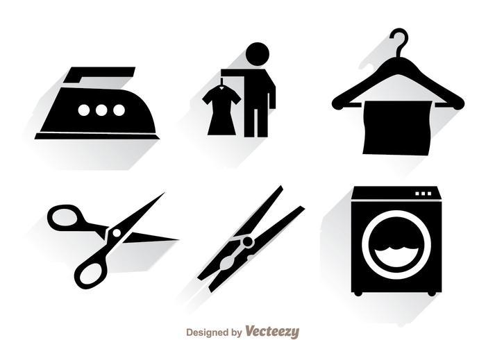 Wäsche schwarz Icons vektor
