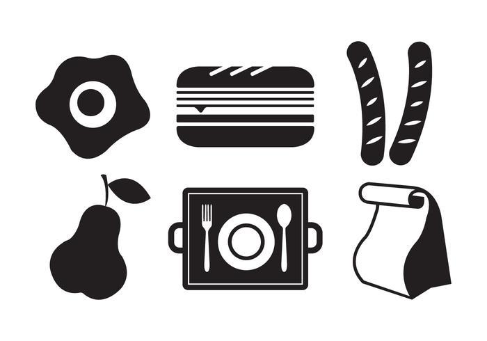 Vektor-Illustration von Symbolen der Schule Mittagessen vektor