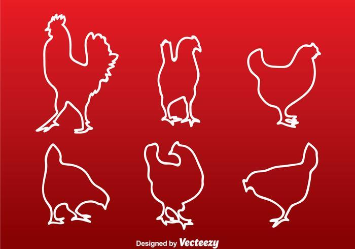 Huhn weiße Linie Silhouette vektor