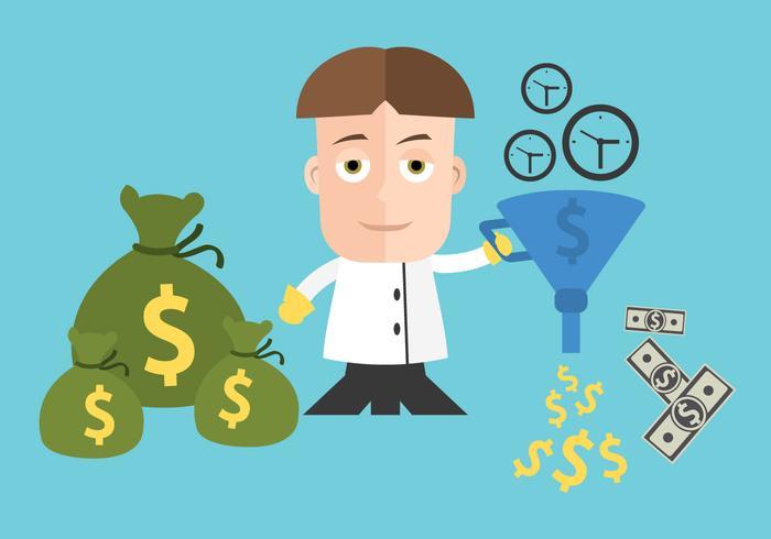"""Vektor illustrationer för """"Time is Money"""" -konceptet"""