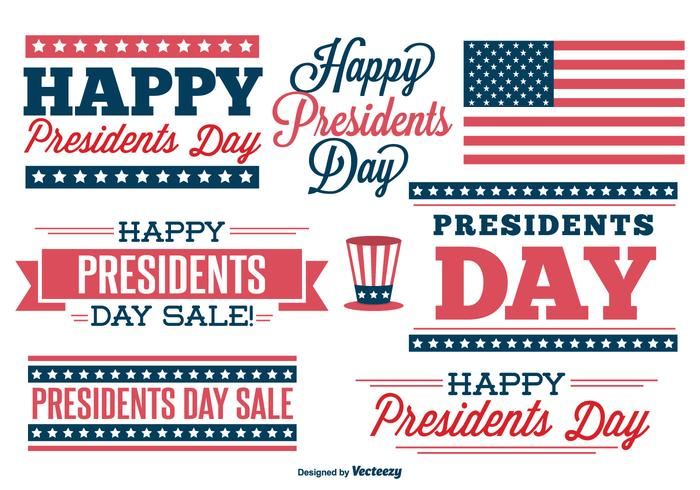 Presidenter dag etikett uppsättning vektor