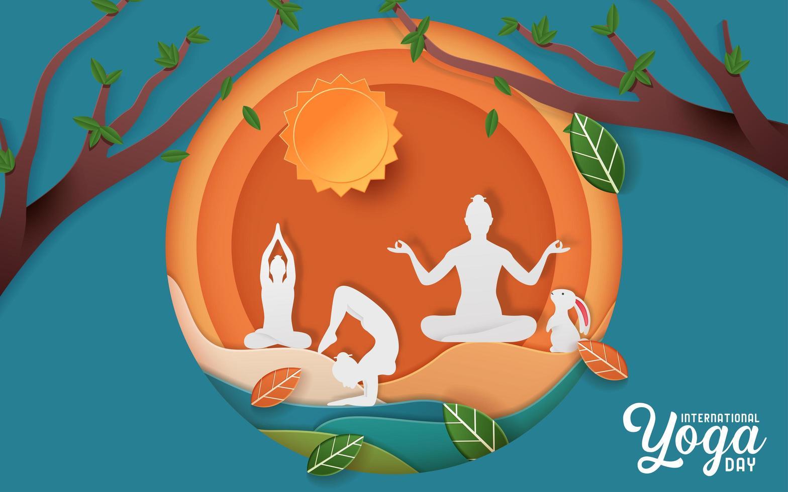internationell yoga dag affisch vektor
