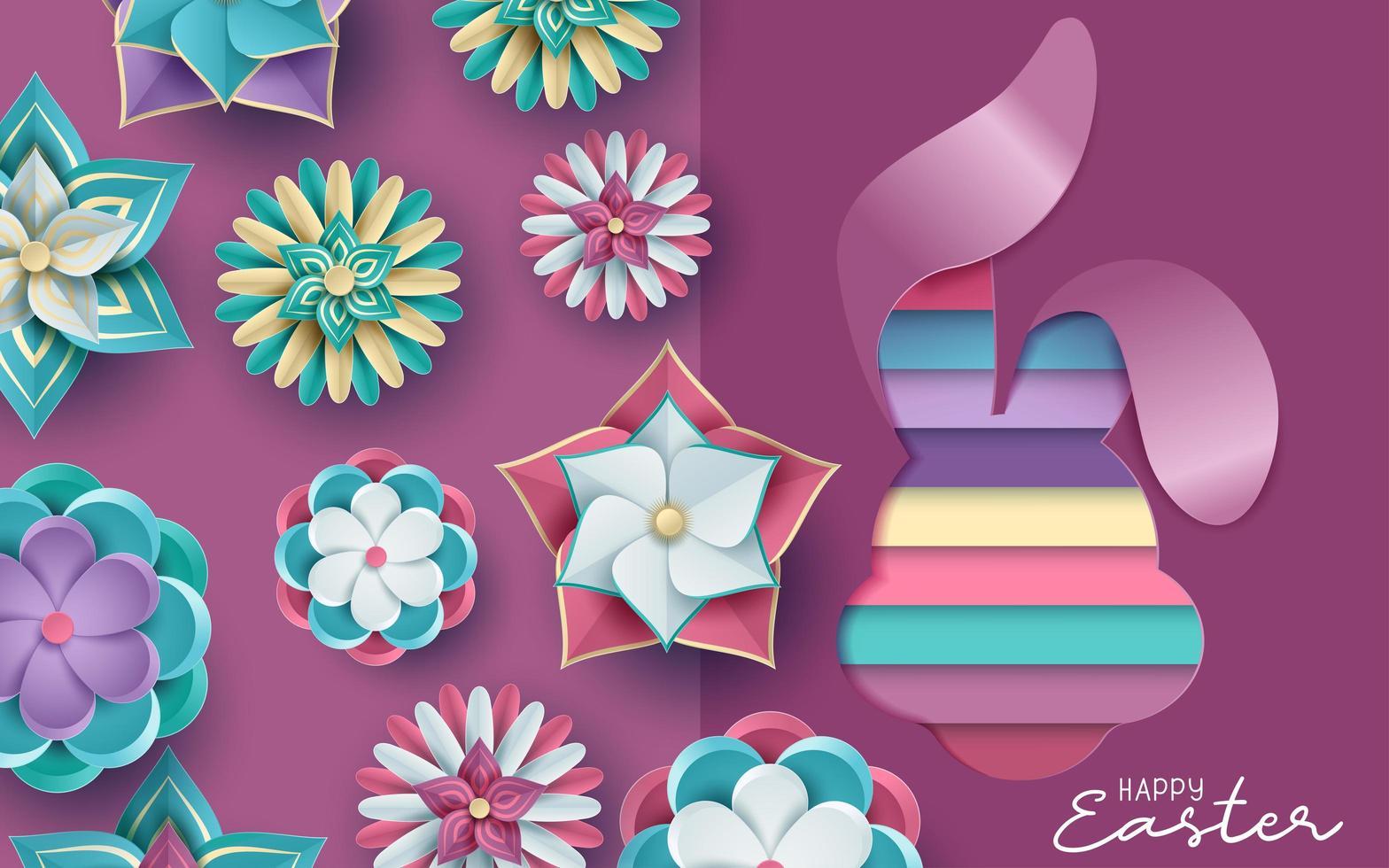 Osterkarte im Papierschnitt 3d mit Blumen vektor