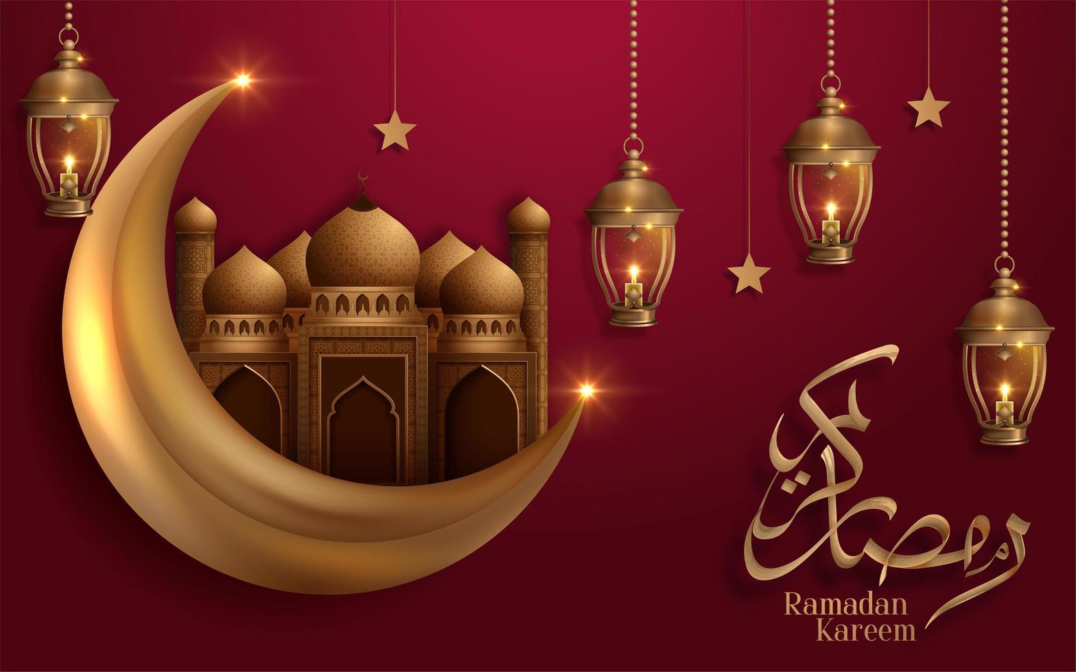 Goldener Mond und Moschee des Ramadan Kareem auf rotem Design vektor