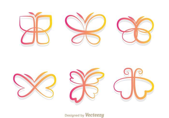 Schmetterling Farbverlauf Icons vektor