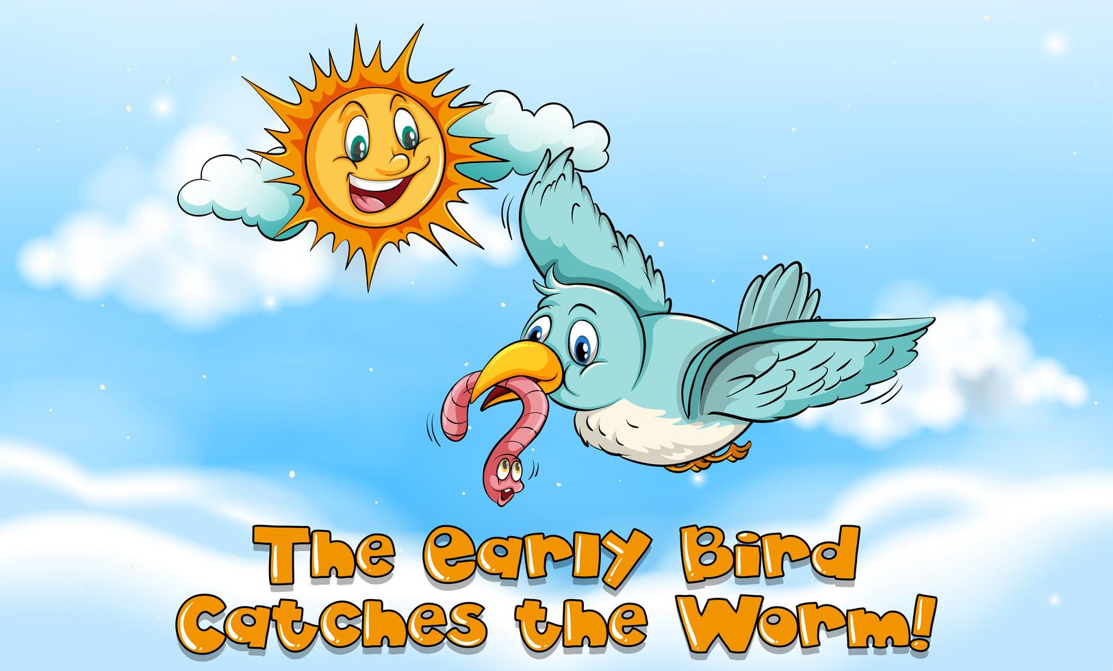 Der Ausdruck für einen frühen Vogel fängt den Wurm 298408