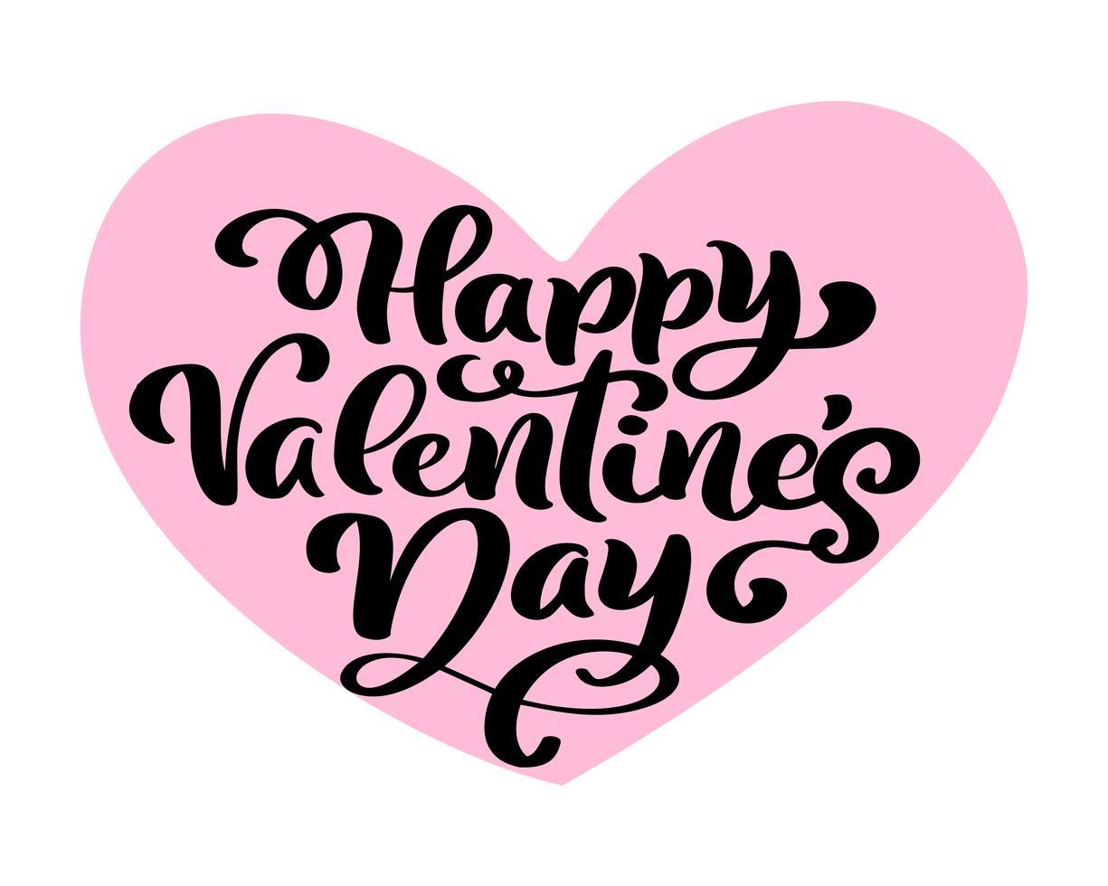 kalligraphiephrase glücklicher valentinstag im rosa herzen