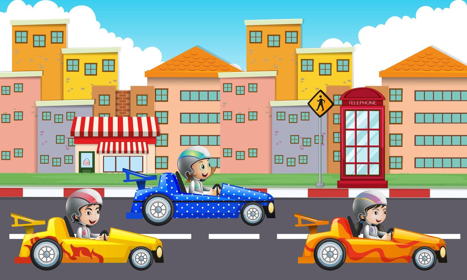 drei kinder die rennautos auf der straße fahren 445037