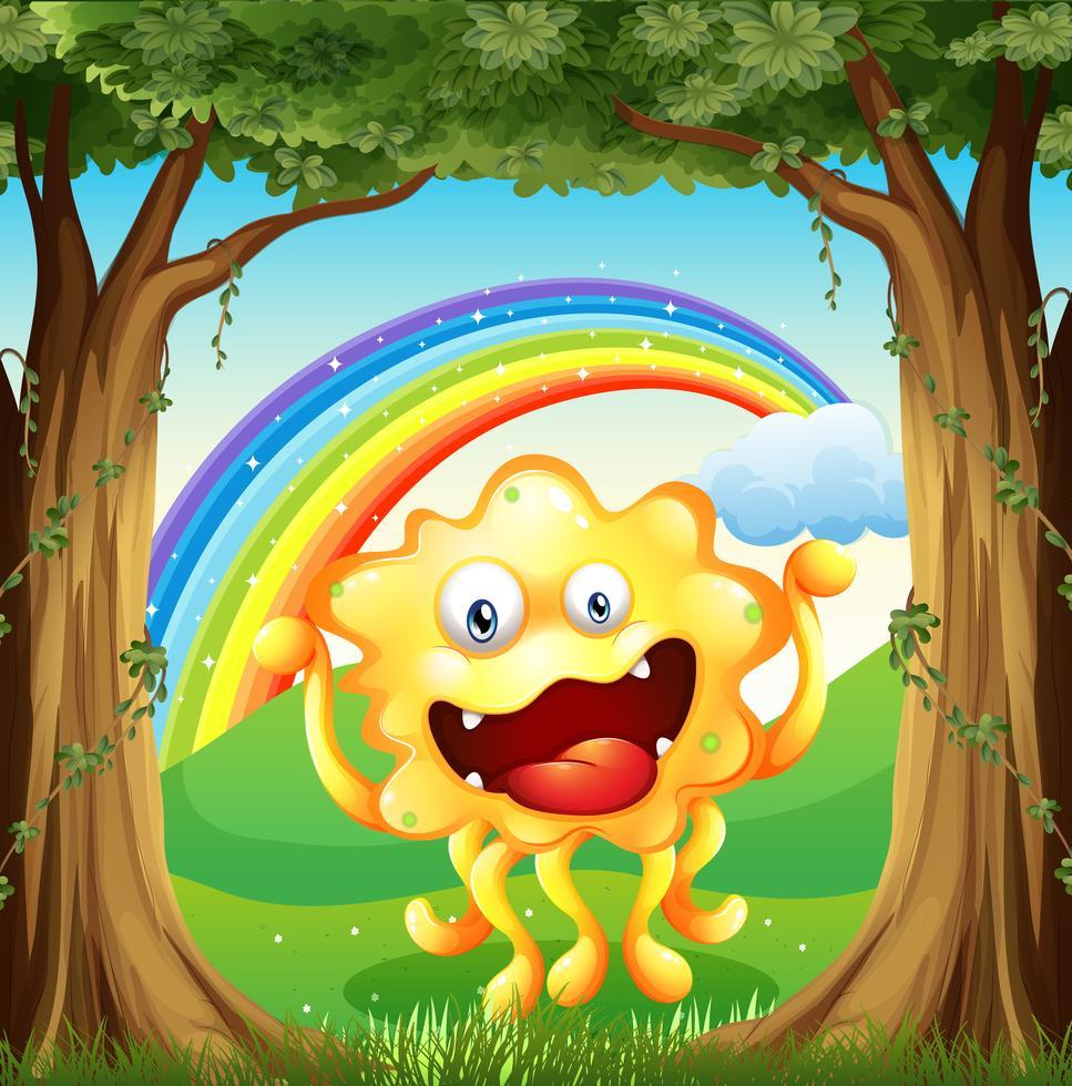ein monster im wald mit einem regenbogen am himmel 525350