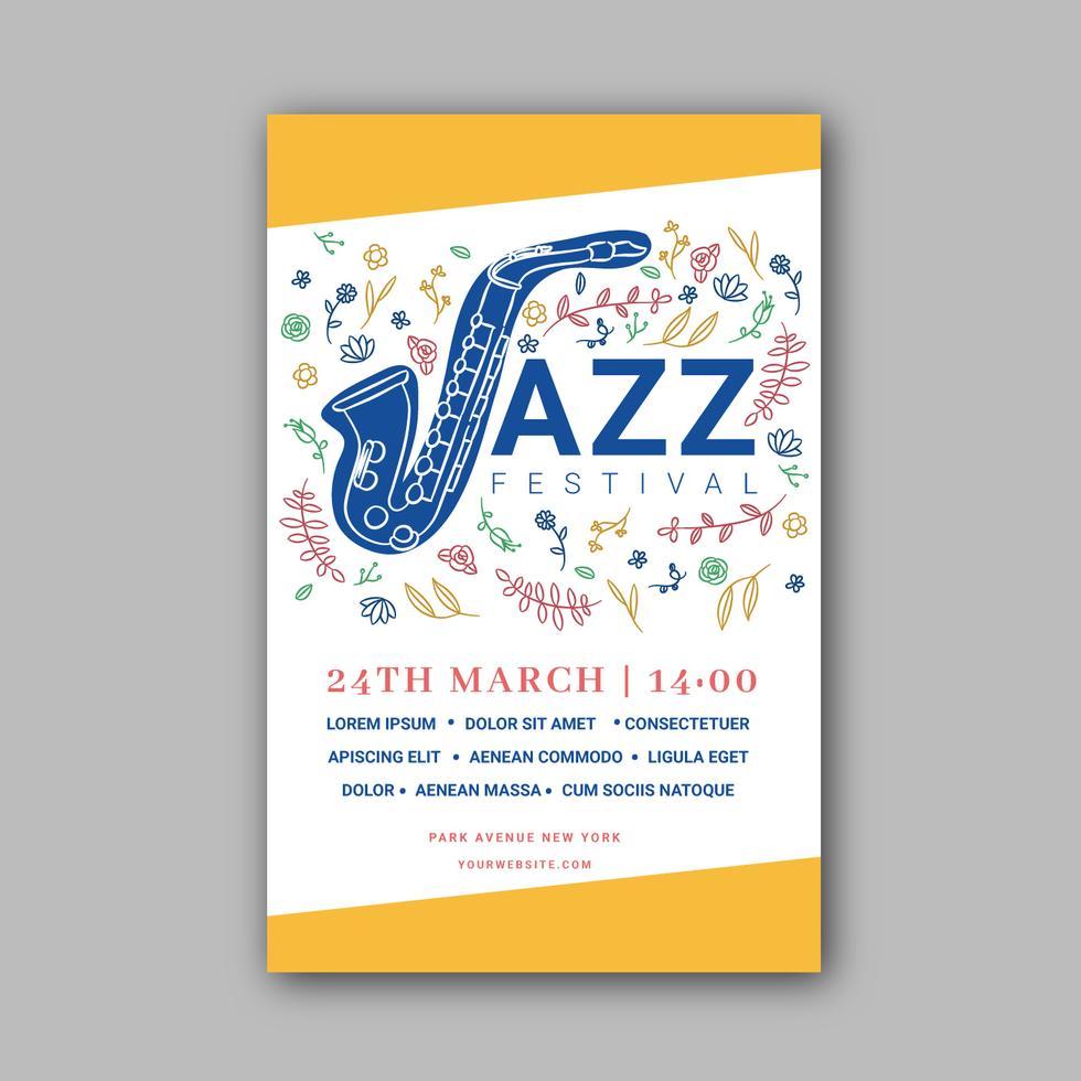 jazz instrument mit blumen in der musikfestivalschablone