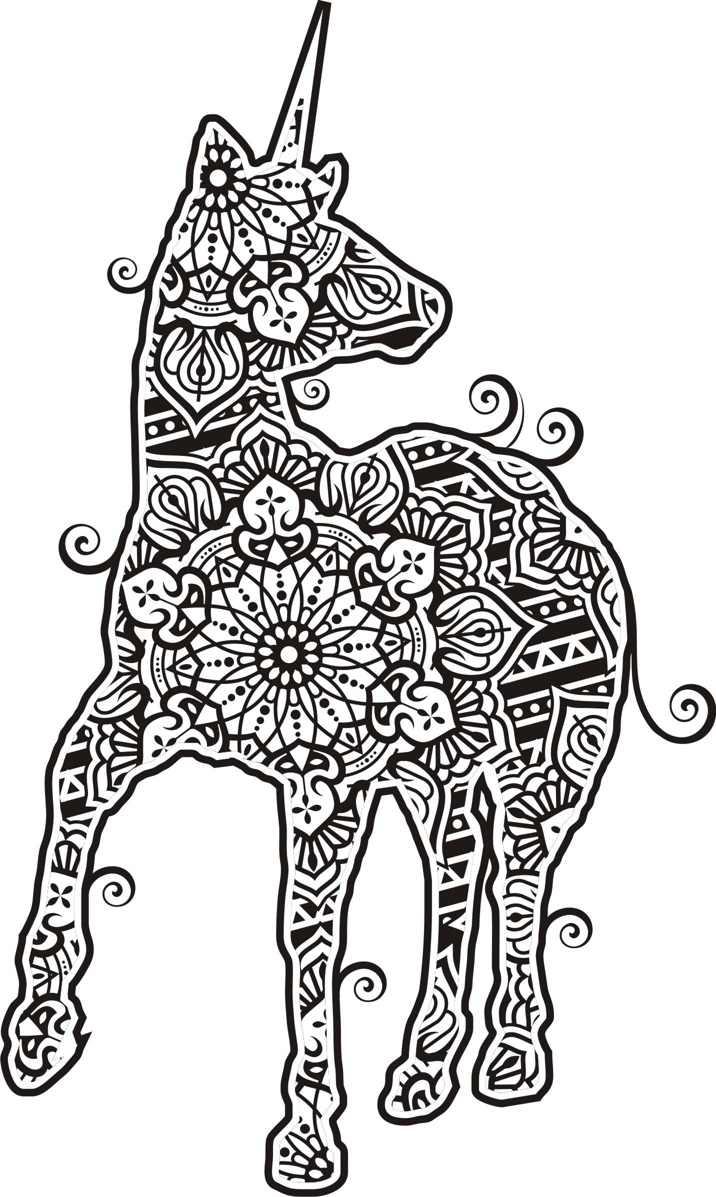 Einhorn im Mandala Line Art Style 23 Vektor Kunst bei Vecteezy