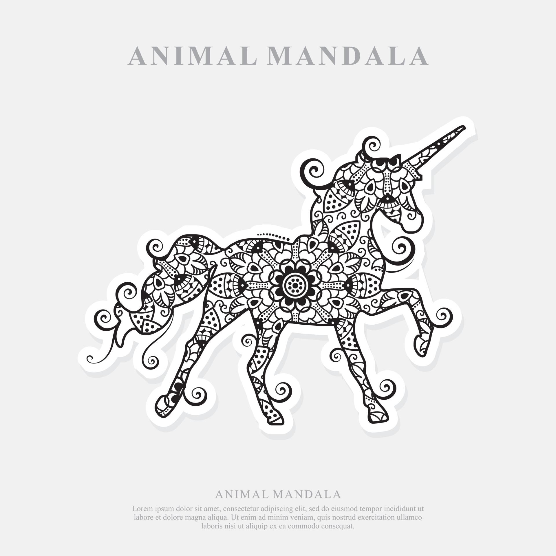 Einhorn Mandala. Vintage dekorative Elemente. orientalisches