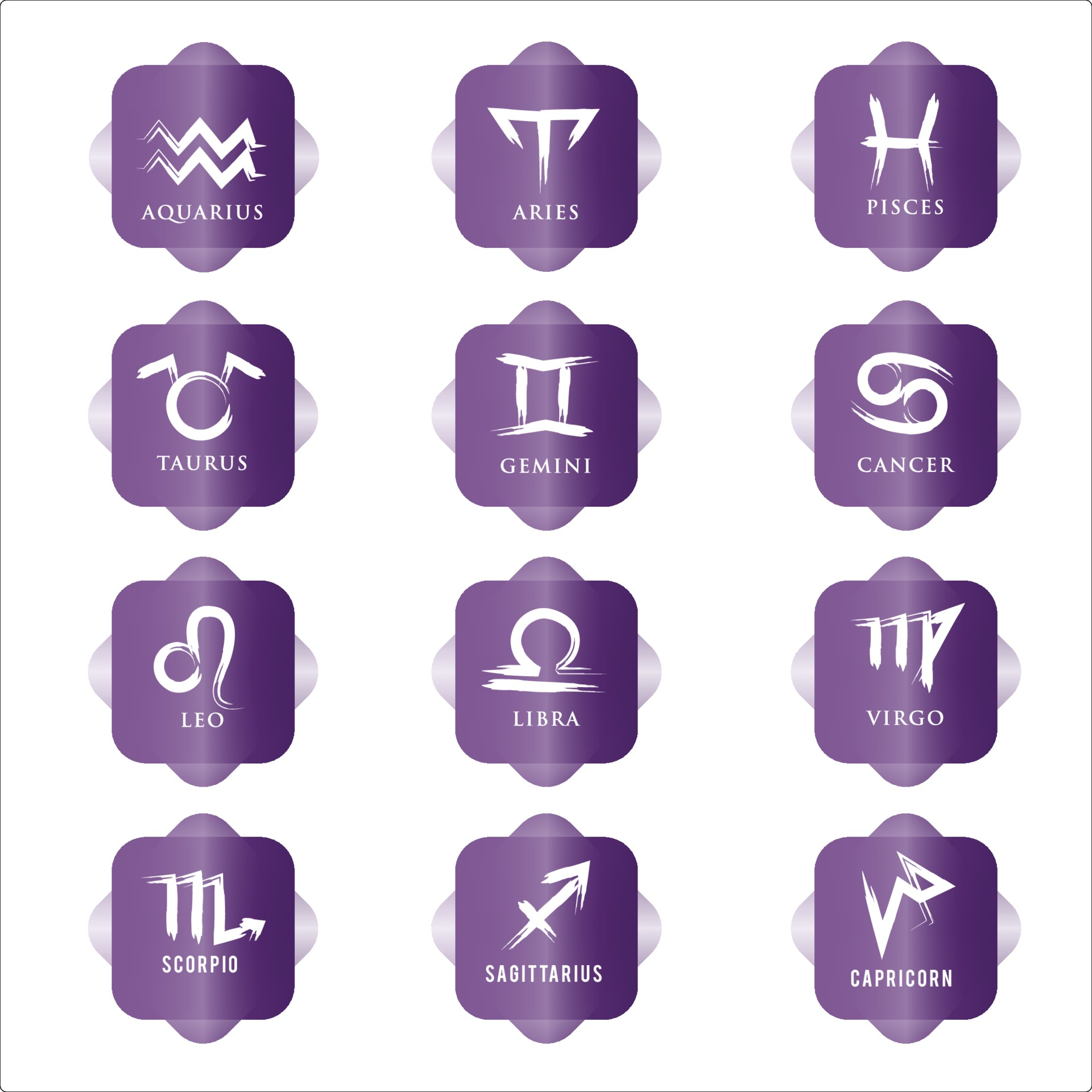 Sternzeichen Icon Set. Sternzeichen für Astrologie Horoskop. lila ...