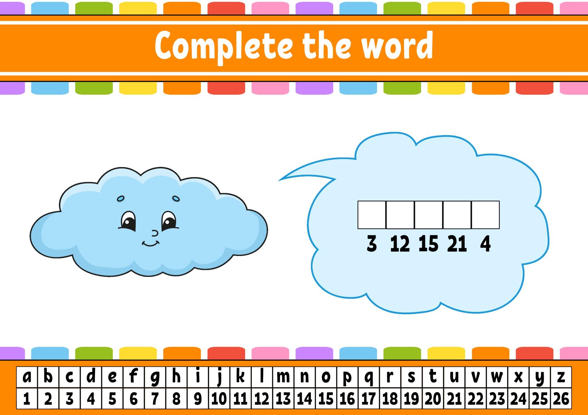 Vervollständige die Wortwolke. Chiffriercode. Vokabeln und Zahlen ...