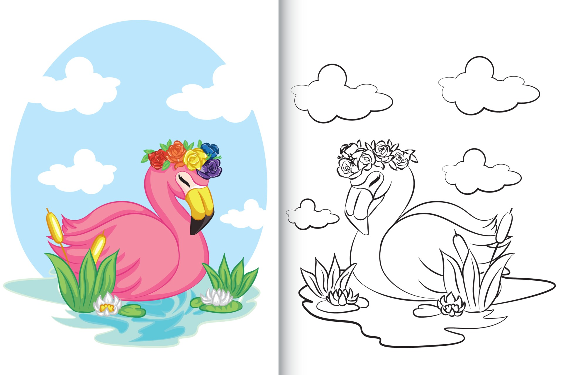 Flamingo schwimmen auf dem See für Malbuch, Malvorlage. 28