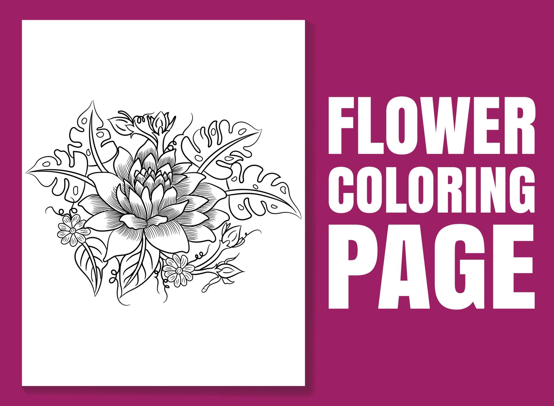 Blumenmalbuchseite für Erwachsene und Kinder. Malvorlagen 30