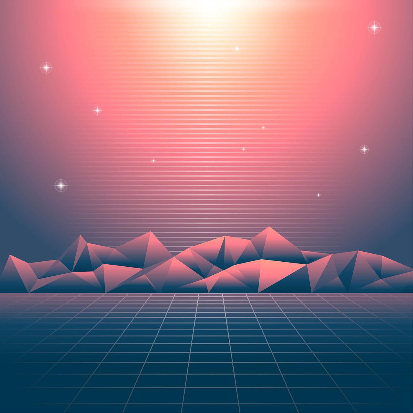 Retro Hintergrund Vaporwave Lights 21 Vektor Kunst bei Vecteezy