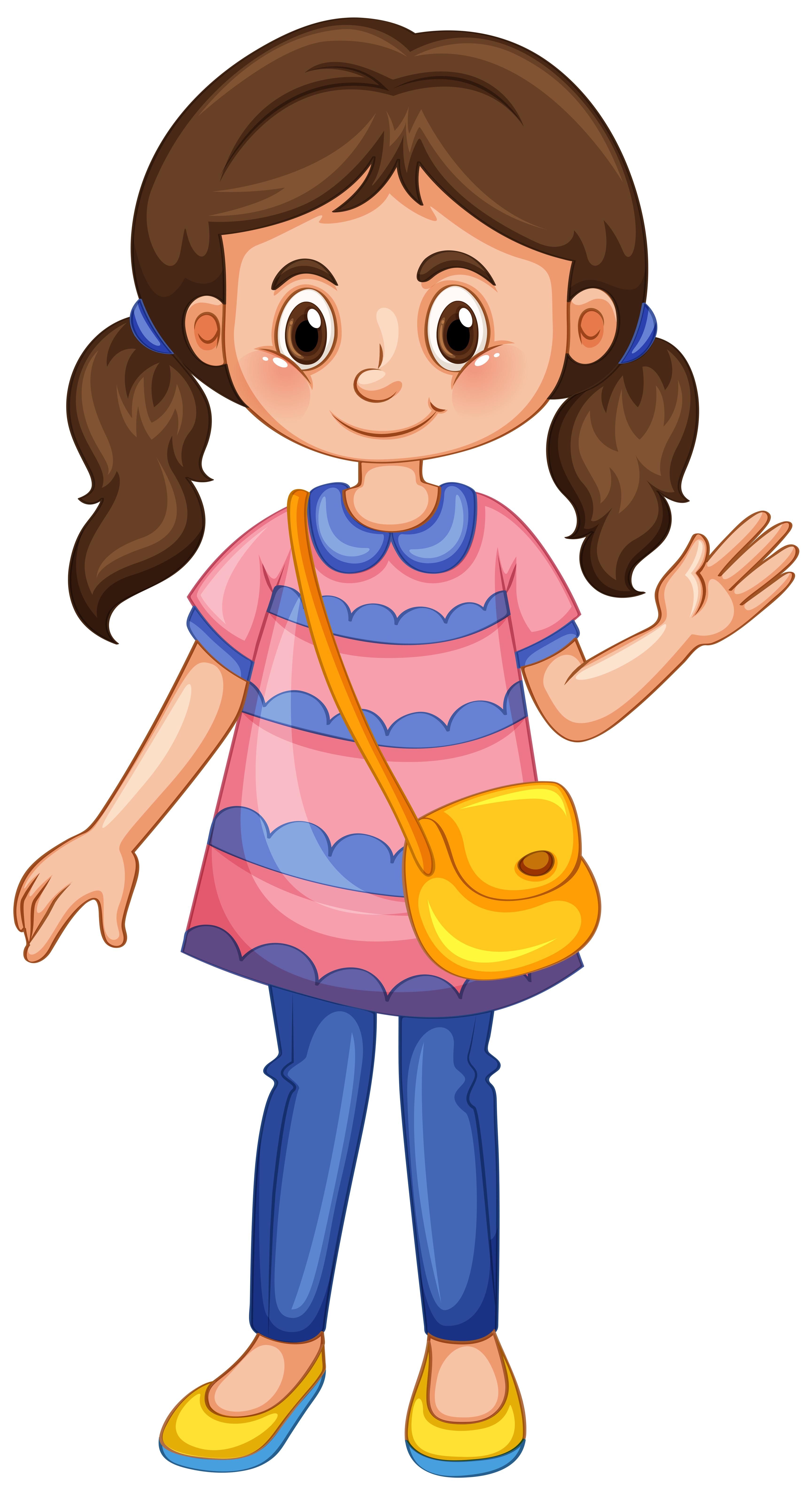 Kleines Mädchen winkt Hand 549886 Vektor Kunst bei Vecteezy