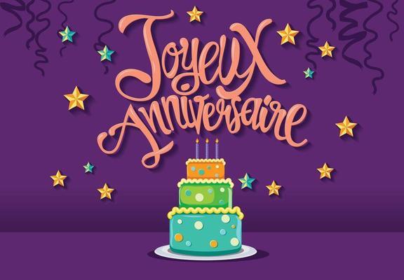 Alles Gute Zum Geburtstag Im Franzosischen Joyeux Anniversaire Mit Tart Cake 147845 Vektor Kunst Bei Vecteezy