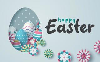 ljusblå påskkortdesign med utskuren äggform