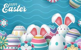 lycklig påskhälsning med färgglada dekorerade ägg med kaninöron