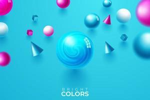 blauer Hintergrund mit fallenden geometrischen Formen vektor