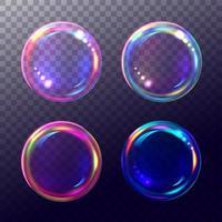 Satz von vier klaren bunten Blasen vektor
