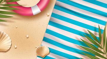 Ovanifrån strandbakgrund med livräddare ring och handduk vektor
