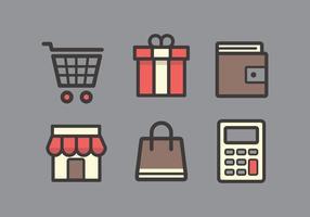 Vektor shopping ikonuppsättning