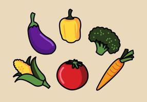 Vektor grönsaker illustration uppsättning