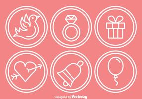 Hochzeit Outline Circle Icons