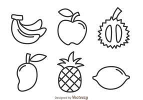 Frukt skissera ikoner vektor