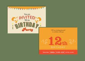 Grattis på födelsedagskortinbjudan vektor