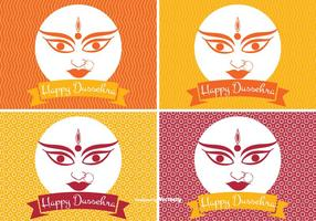 Happy Dussehra Etikett Set vektor