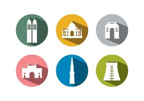Set von Gebäuden aus Indien vektor