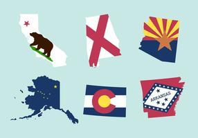 Vektor uppsättning statliga kartor och flaggor