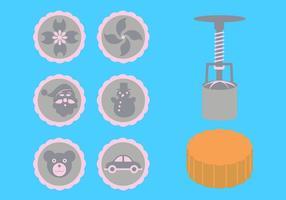 Vektor-Illustration von Mond Kuchen Zubehör vektor