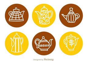 Arabische Kaffee-Topf-Kreis-Ikonen vektor