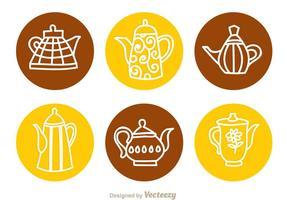 Arabiska kaffekanna cirkel ikoner vektor