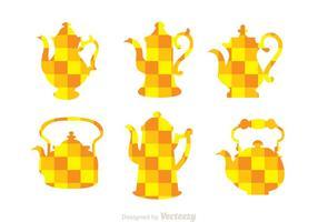 Arabiska Kaffekanna Orange Mozaic Ikoner