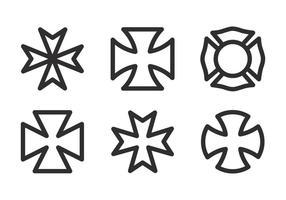 Vektor maltesisk kors ikonuppsättning